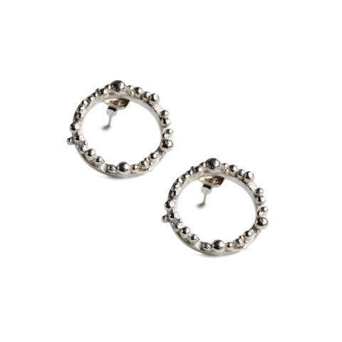 ORB,Hoops,medium,-,silver,with,irregular,granulation,Katerina Damilos, silver hoops, silver hoop ear studs, granulated hoops, granulation, contemporary hoops, understated glamour, wedding jewellery