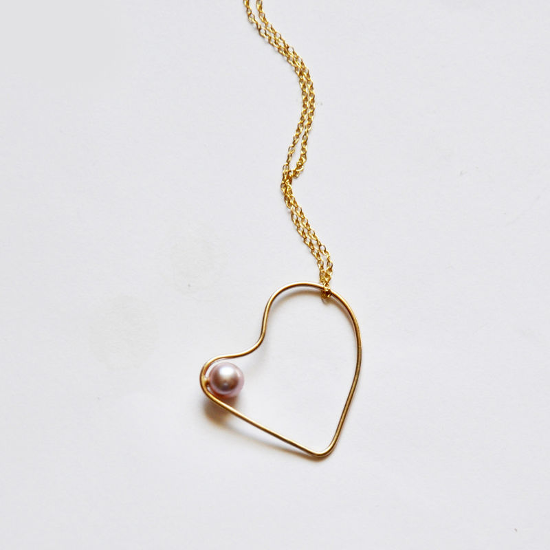 Silhouette solid gold heart necklace with blush pearl - product images  of