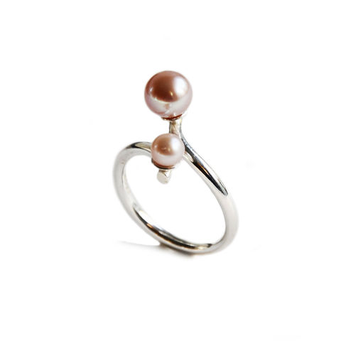 Silhouette,coil,ring,with,two,blush,pearls,Katerina Damilos, June birthstone, silver and double pearl cocktail ring, modern pearl jewellery, statement pearl ring, contemporary pearl ring, pearl cocktail ring, white and grey pearl ring, online jewellery
