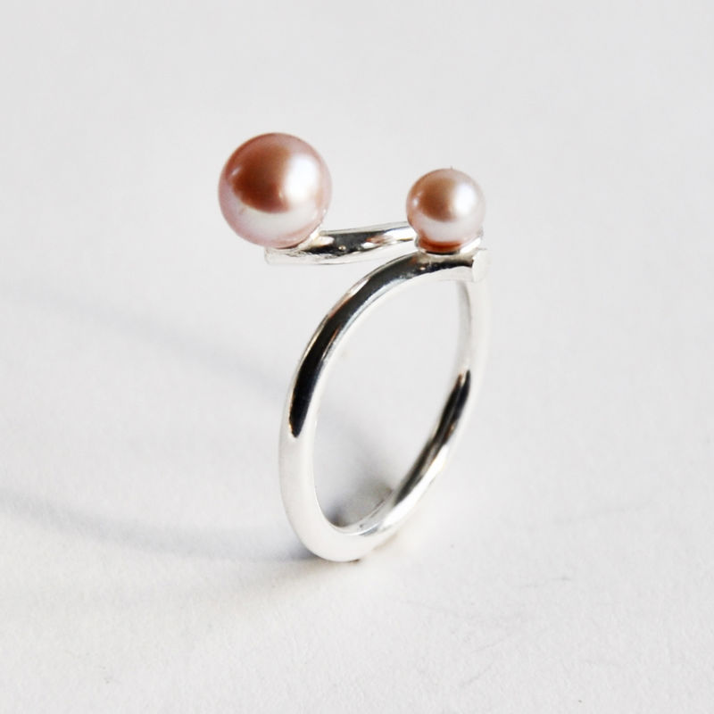 Silhouette coil ring with two blush pearls - product images  of