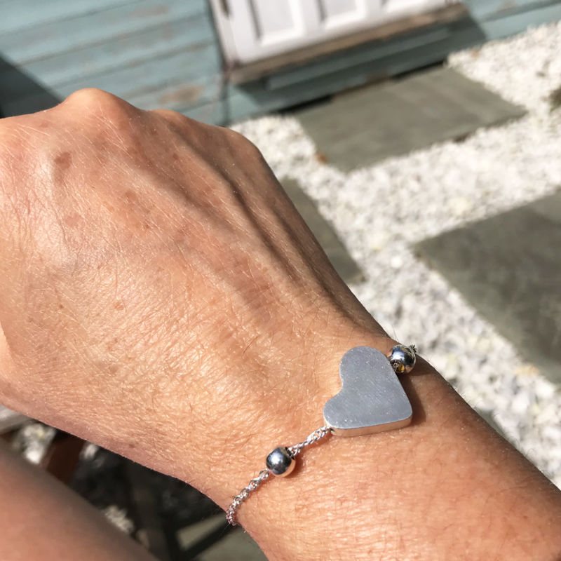 Adjustable heart bracelet - silver - product images  of