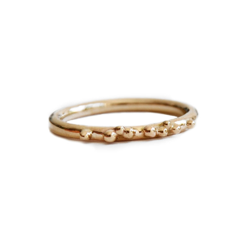 ORB granulated stacking ring / half eternity solid gold - product images  of
