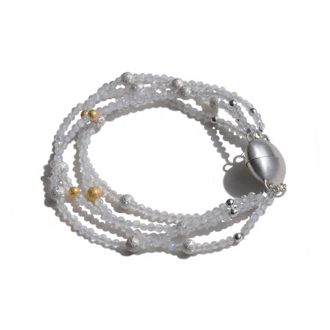 ORB,moonstone,multi-strand,bracelet,with,silver,&,gold,detail,Katerina Damilos, multi-strand moonstone bracelet with silver and gold, faceted, textured, birthday jewellery, gift jewellery, day to night jewellery, June birthstone