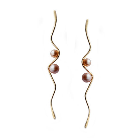 Silhouette,wave,earrings,,9ct,gold,with,blush,pearls,Katerina Damilos, 9ct gold jewellery, June birthstone, Silhouette, dressy gold pearl earrings, 9ct gold and pearl wave earrings, wedding jewellery, modern pearl jewellery, party earrings, contemporary pearl earrings, online jewellery
