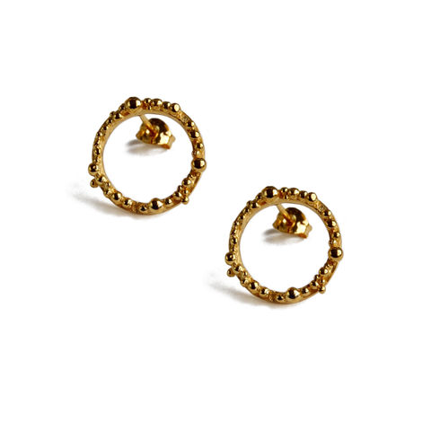 ORB,Hoops,medium,-,gold,plated,silver,with,irregular,granulation,Katerina Damilos, gold hoops, gold hoop ear studs, granulated hoops, granulation, contemporary hoops, understated glamour, wedding jewellery