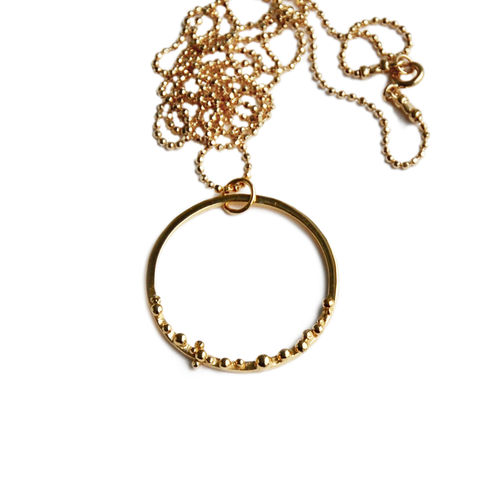 ORB,hoop,necklace,Katerina Damilos, circle pendant, textured gold pendant, granulation, granulated, bubble pendant, hoop pendant, contemporary hoop, contemporary necklaces