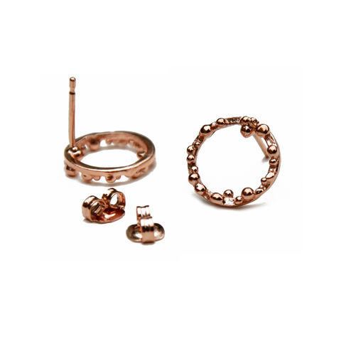 ORB,Hoops,small,with,irregular,granulation,Katerina Damilos, small gold hoop ear studs, small hoop earrings, granulated, granulation, contemporary hoops