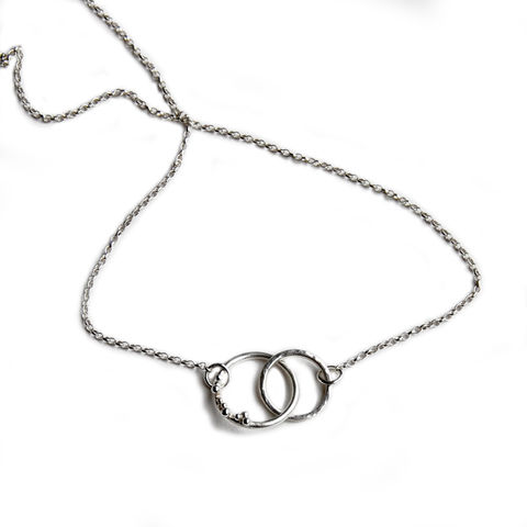 ORB,granulated,interlocking,hoops,necklace,silver,Katerina Damilos, ORB, interlocking hoops silver pendant, granulation, granulated, love jewellery, togetherness jewellery, contemporary necklaces