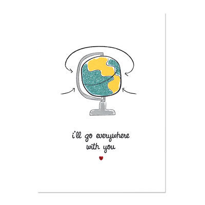 Everywhere,With,You,Valentine's,Day,Card,papyrus, romance, globe, world, handmade, international, hong kong
