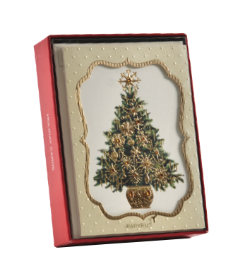 Handmade,Tree,in,Cartouche,Box,Set,papyrus, handmade, christmas, box, cards, stationery, international, hong kong