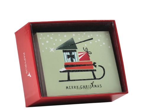 Holiday,Sled,Box,Set,papyrus, handmade, christmas, box, cards, stationery, international, hong kong