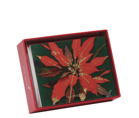 Bold,Poinsettia,Box,Set,papyrus, handmade, christmas, box, cards, stationery, international, hong kong
