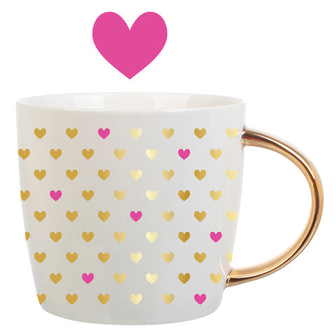 Ceramic,Mug,Gold,Hearts,slant, valentine's day, ceramic mug, gold hearts