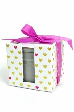 Notecube,Stationery,with,Hearts,slant, valentine's day, stationery