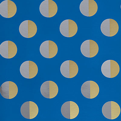 Gold,Silver,Dots,on,Blue,Paper,papyrus, roll wrap, wrapping paper, for him, gold silver dots