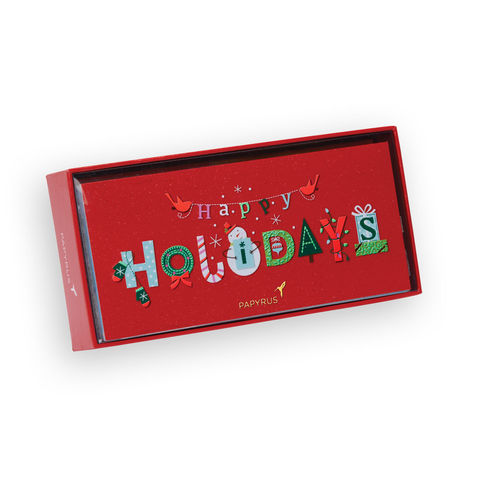 Happy,Holidays,Text,Box,Set,papyrus, xbc, christmas, box set, holidays, handmade, international, hong kong
