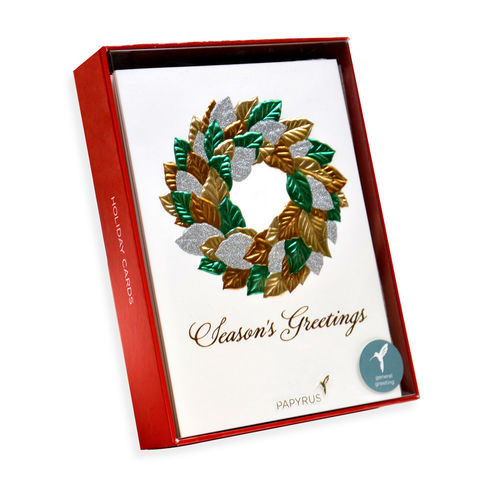Embossed,Magnolia,Wreath,Box,Set,papyrus, handmade, christmas, box set, xbc, international, hong kong, holidays