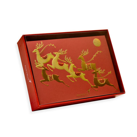 Gold,Embossed,Reindeer,Box,Set,papyrus, handmade, christmas, box set, xbc, holidays, international, hong kong