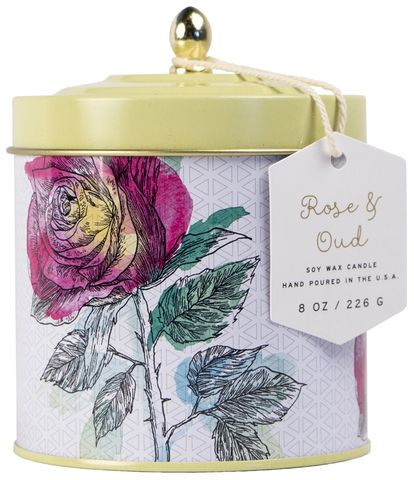 Rose,+,Oud,Tin,Candle,paddywax, rose, oud, tin, decorative, candle, flower market, spring, floral