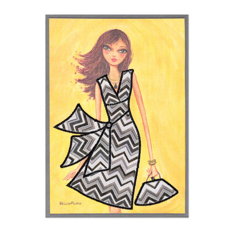 Fabulous,Chevron,Fabric,Dress,papyrus, bella pilar, blank, express yourself, fabulous, chevron, fabric, dress, fashion, handmade, greeting, card, international, hong kong