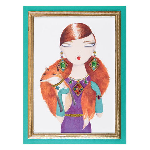 Elegant,Fox,Lady,papyrus, handmade, greeting, card, international, hong kong, flights of fancy, blank, express yourself