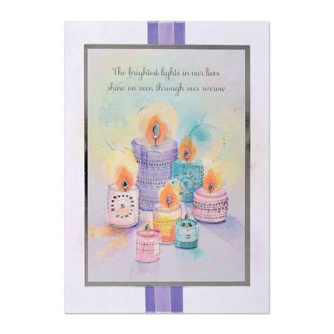 Pastel,Votives,with,Gem,Flames,papyrus, handmade, greeting, card, sympathy, candles, flames, international, hong kong