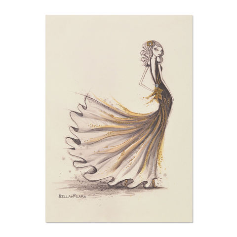 Gal,in,Black,&,Gold,Gown,papyrus, handmade, greeting, card, blank, express yourself, bella pilar, international, hong kong