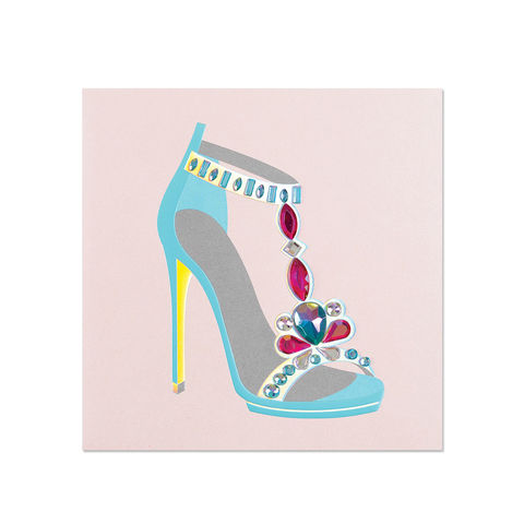 Prismatic,Shoe,papyrus, handmade, greeting, card, blank, express yourself, shoes, fashion, gems, international, hong kong