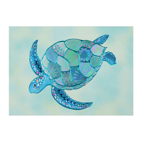 Mosaic,Turtle,papyrus, handmade, greeting, card, blank, express yourself, turtle, animal, sealife, international, hong kong