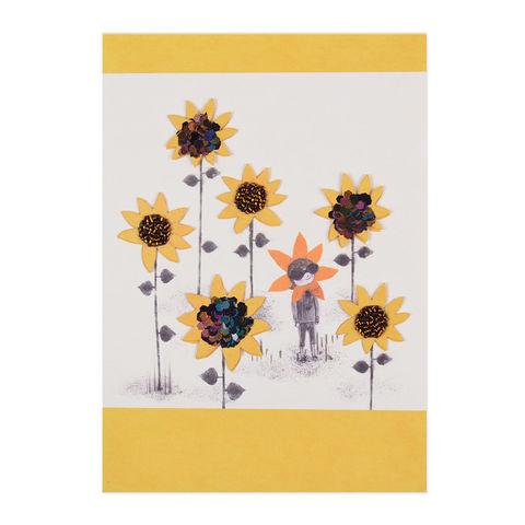 Sunflower,Girl,papyrus, handmade, greeting, card, blank, express yourself, sunflower, floral, international, hong kong