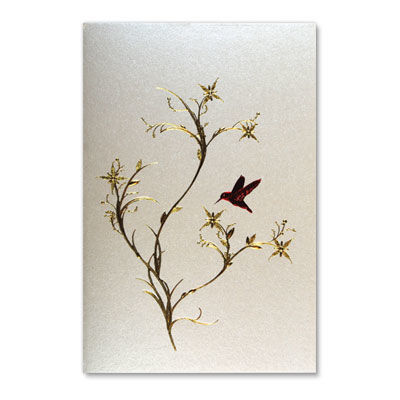 Red,Hummingbird,&,Gold,Plant,papyrus, handmade, greeting card, international, hong kong, hummingbird, gold plant