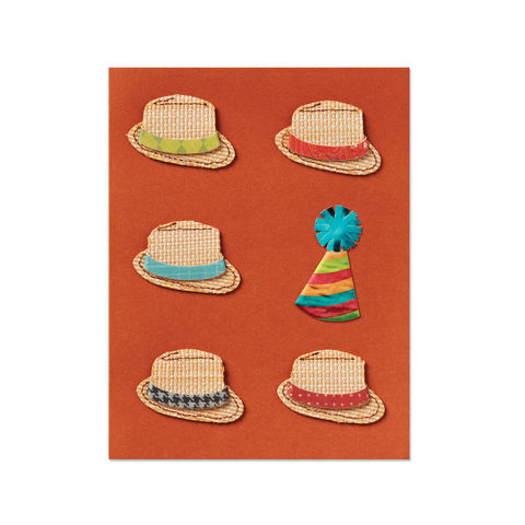 Party,&,Fedora,Hats,papyrus, handmade, greeting, card, birthday, fedora, party, for him, masculine, international, hong kong