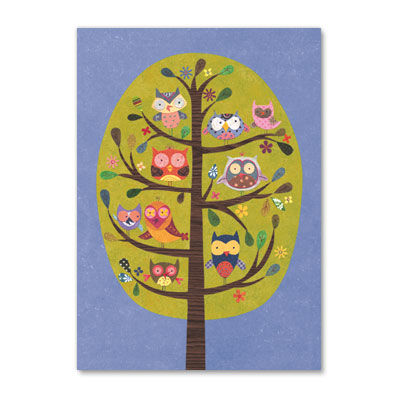 Owls,in,Tree,papyrus, handmade, greeting, card, blank, express yourself, owls, tree, international, hong kong