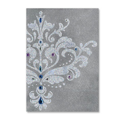 Silver,&,White,Damask,papyrus, handmade, greeting, card, silver, white, damask, blank, express yourself, international, hong kong