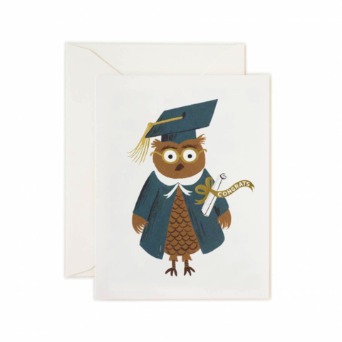 Owl,in,Graduation,Cap,rifle paper co, graduation, owl, cap, mortar board, mortarboard, education, achievement, diploma, hat, international