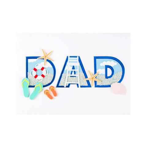 Dad,Beach,Lettering,papyrus, father's day, father, fathers, dad, dads, daddy, june 19th, nineteenth, handmade, greeting, card, cards, international, hong kong
