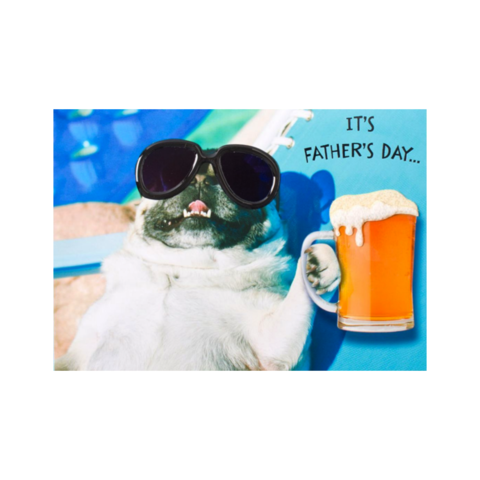 Pug,by,the,Pool,papyrus, handmade, greeting, card, cards, father's day, father, fathers, dad, dads, daddy, june 19th, nineteenth, pug, pool, cute, international, hong kong