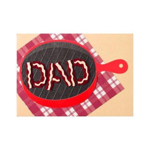 Handmade,Dad,Bacon,in,Frying,Pan,papyrus, handmade, greeting, card, cards, father's day, father, fathers, dad, dads, daddy, june 19th, nineteenth, frying, pan, grill, bacon, international, hong kong