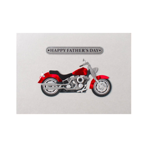 Handmade,Red,Motorcycle,papyrus, handmade, greeting, card, cards, father's day, father, fathers, dad, dads, daddy, june 19th, nineteenth, red, motorcycle, silver, international, hong kong