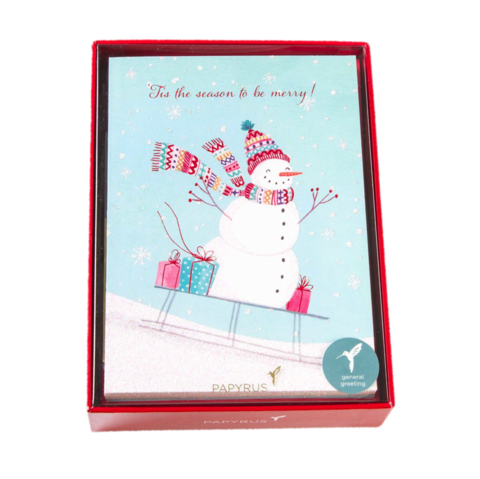 Sledding,Snowman,Boxed,Holiday,Cards,(Set,of,14),papyrus, christmas, xmas, xbc, boxed, box, cards, card, handmade, greeting, holidays, holiday, snowman, cute, sledding, snow, international, hong kong