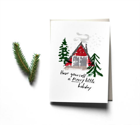 Merry,Little,Holiday,Card,merry, christmas, holiday, shack, snow, storm, redcruiser, handmade, greeting, card, blank