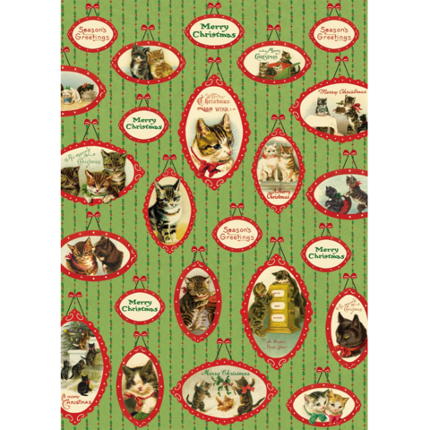Christmas,Cats,Wrap,cavallini, christmas, cats, animal, animals, cat, wrap, sheet, wrapping, paper, holiday, holidays, italian, premium