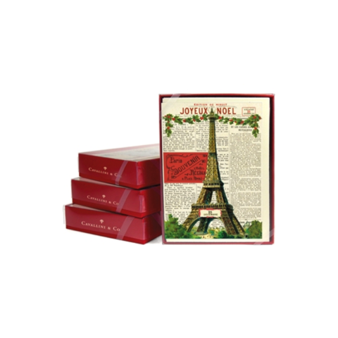 Eiffel,Joyeux,Noel,Box,(Set,of,10),eiffel, tower, joyeux, noel, french, box, set, stationery, handmade, greeting, card, cards, cavallini, italian, paper, fine art