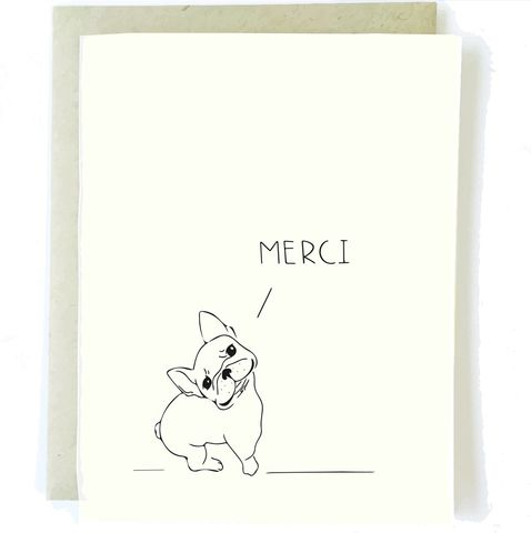 Thank you cards unique handmade notes of gratitude collection frenchbulldogthankyoucardchalkscribe thank you merci m4hsunfo