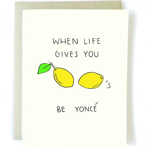 Lemonade,Beyoncé,Greeting,Card,chalkscribe, greeting, card, lemonade, beyonce, pop culture, friendship, blank, funny, humorous, hilarious, handmade