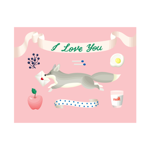 Retro,Fox,I,Love,You,Valentine's,Day,Card,clap clap, i love you, retro, fox, cute, valentine's day, valentines, day, romance, romantic, love, handmade, greeting, card