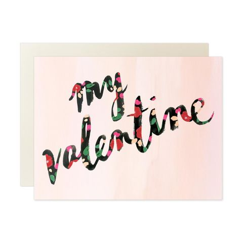 My,Valentine,Cursive,Valentine's,Day,Card,our heiday, valentine, cursive, watercolor, valentine's day, valentines, day, floral, flowers, black, art, handmade, greeting, card