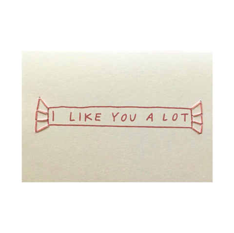I,Like,You,A,Lot,Hand-Stitched,Valentine's,Day,Card,allie biddle, i, like, you, a, lot, candy, sweet, cute, valentines, valentine, valentine's, valentine's day, denton, usa, made in, dallas, local, handmade, greeting, card