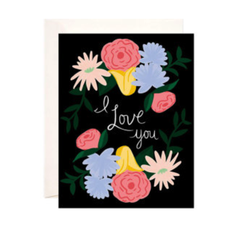 Floral,I,Love,You,Card,bloomwolf studio, i love you, romance, romantic, handmade, greeting, card, american made, floral, flowers, flower, pattern