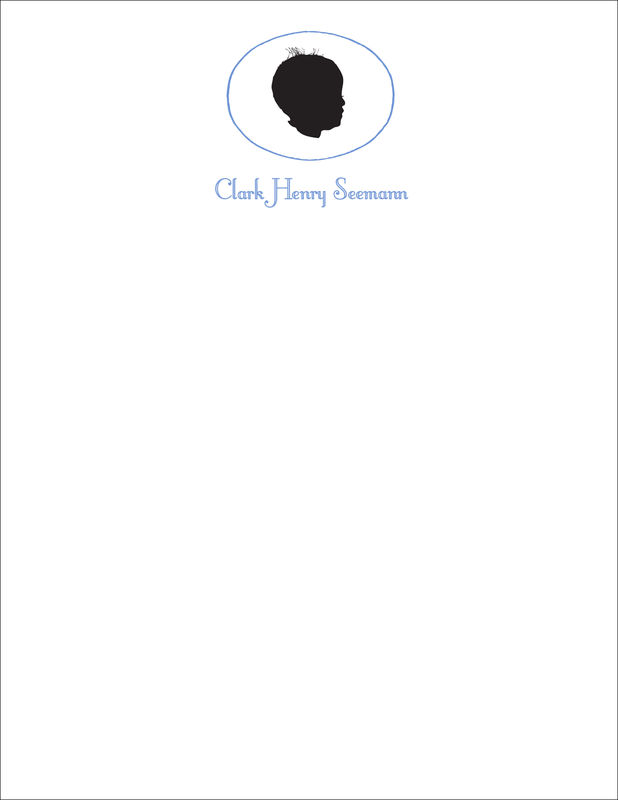 baby silhouette stationery (boy or girl or twins) - product images  of